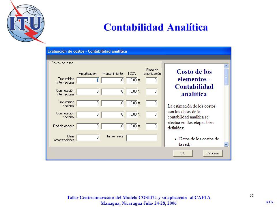 ATA Taller Centroamericano del Modelo COSITU, y su aplicación al CAFTA Managua, Nicaragua Julio 24-28, 2006 30 Contabilidad Analítica