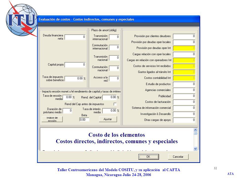 ATA Taller Centroamericano del Modelo COSITU, y su aplicación al CAFTA Managua, Nicaragua Julio 24-28, 2006 32