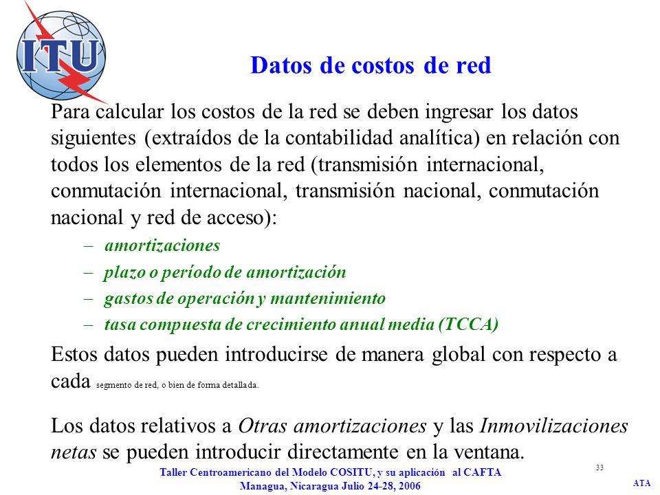 ATA Taller Centroamericano del Modelo COSITU, y su aplicación al CAFTA Managua, Nicaragua Julio 24-28, 2006 33 Datos de costos de red Para calcular lo