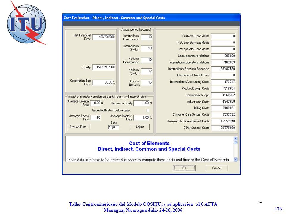 ATA Taller Centroamericano del Modelo COSITU, y su aplicación al CAFTA Managua, Nicaragua Julio 24-28, 2006 34
