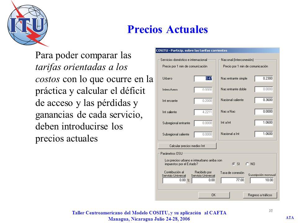 ATA Taller Centroamericano del Modelo COSITU, y su aplicación al CAFTA Managua, Nicaragua Julio 24-28, 2006 35 Precios Actuales Para poder comparar la