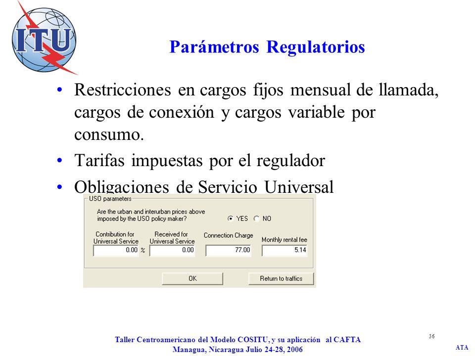 ATA Taller Centroamericano del Modelo COSITU, y su aplicación al CAFTA Managua, Nicaragua Julio 24-28, 2006 36 Parámetros Regulatorios Restricciones e