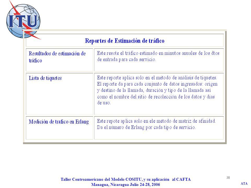 ATA Taller Centroamericano del Modelo COSITU, y su aplicación al CAFTA Managua, Nicaragua Julio 24-28, 2006 38