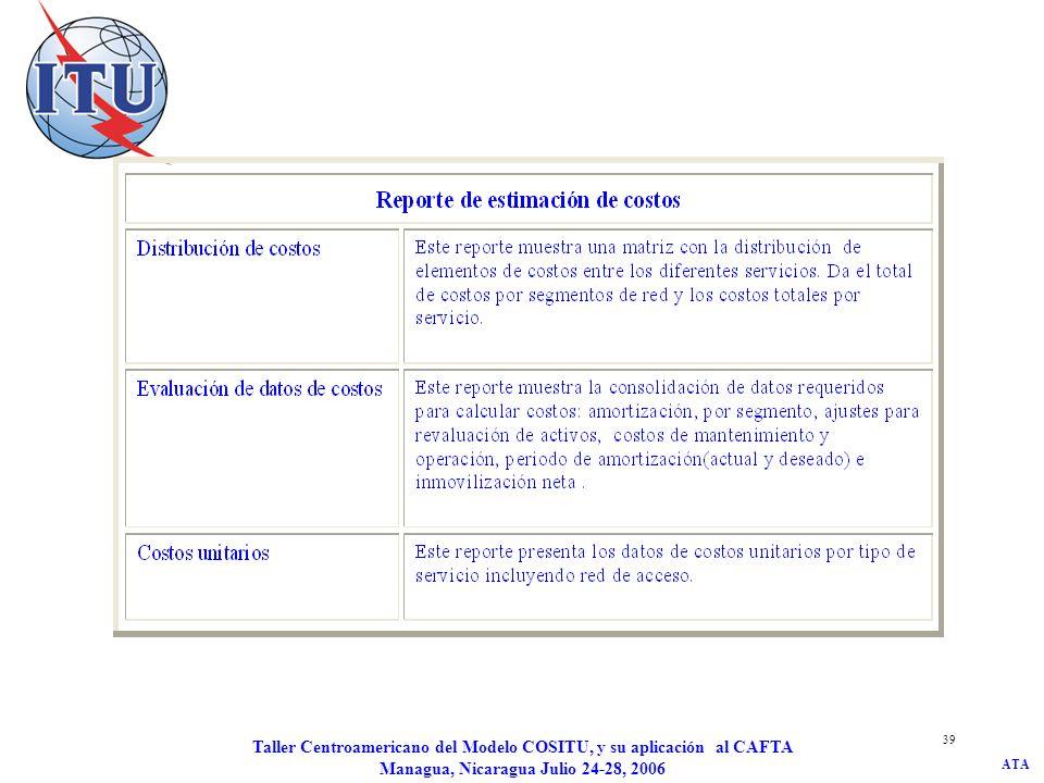 ATA Taller Centroamericano del Modelo COSITU, y su aplicación al CAFTA Managua, Nicaragua Julio 24-28, 2006 39