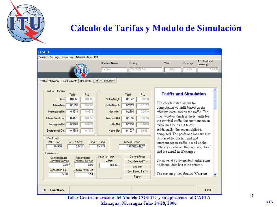 ATA Taller Centroamericano del Modelo COSITU, y su aplicación al CAFTA Managua, Nicaragua Julio 24-28, 2006 41 Cálculo de Tarifas y Modulo de Simulaci