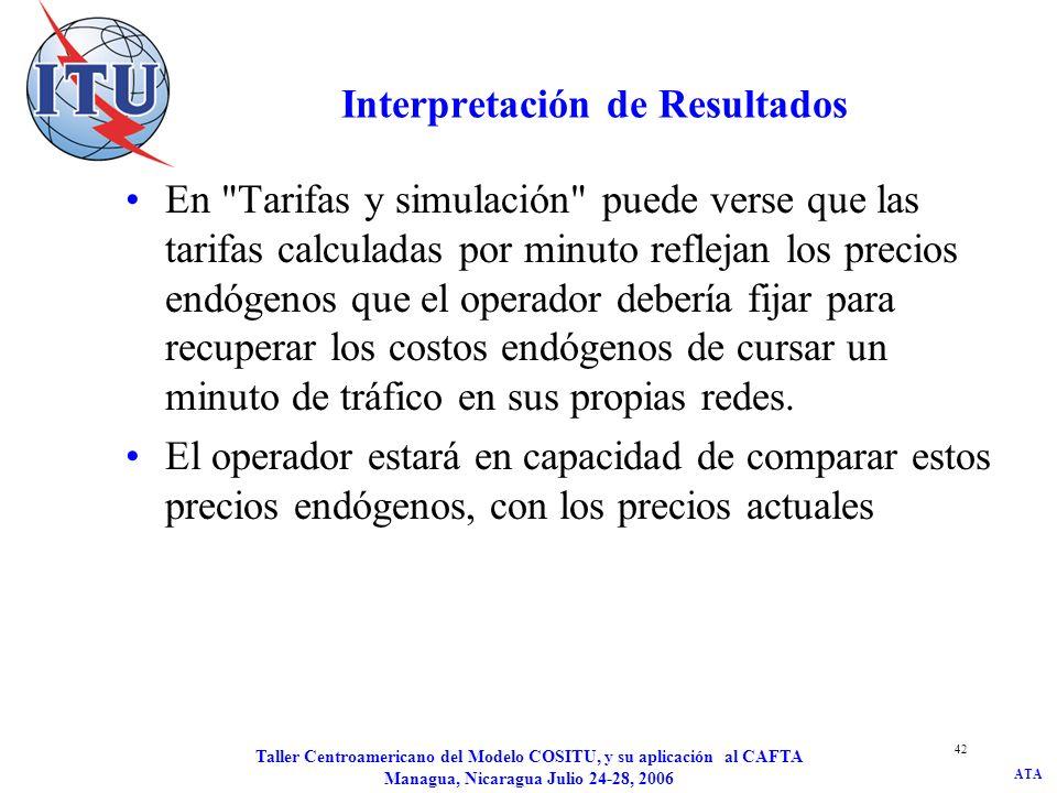 ATA Taller Centroamericano del Modelo COSITU, y su aplicación al CAFTA Managua, Nicaragua Julio 24-28, 2006 42 Interpretación de Resultados En