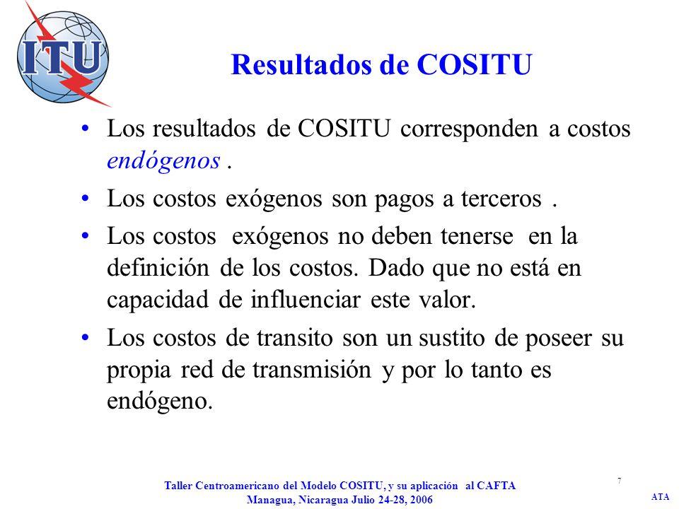 ATA Taller Centroamericano del Modelo COSITU, y su aplicación al CAFTA Managua, Nicaragua Julio 24-28, 2006 7 Resultados de COSITU Los resultados de C