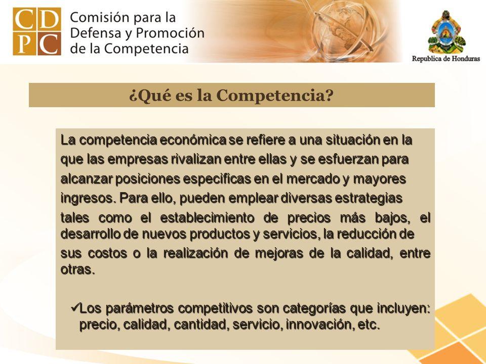 La competencia económica se refiere a una situación en la que las empresas rivalizan entre ellas y se esfuerzan para alcanzar posiciones especificas e
