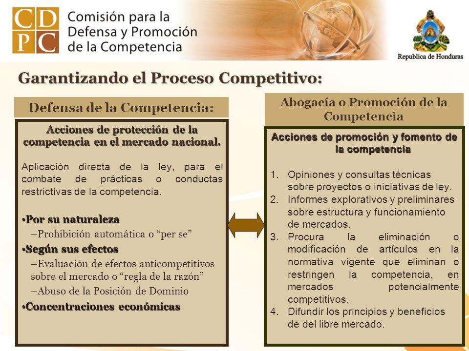 Garantizando el Proceso Competitivo: Acciones de protección de la competencia en el mercado nacional. Aplicación directa de la ley, para el combate de