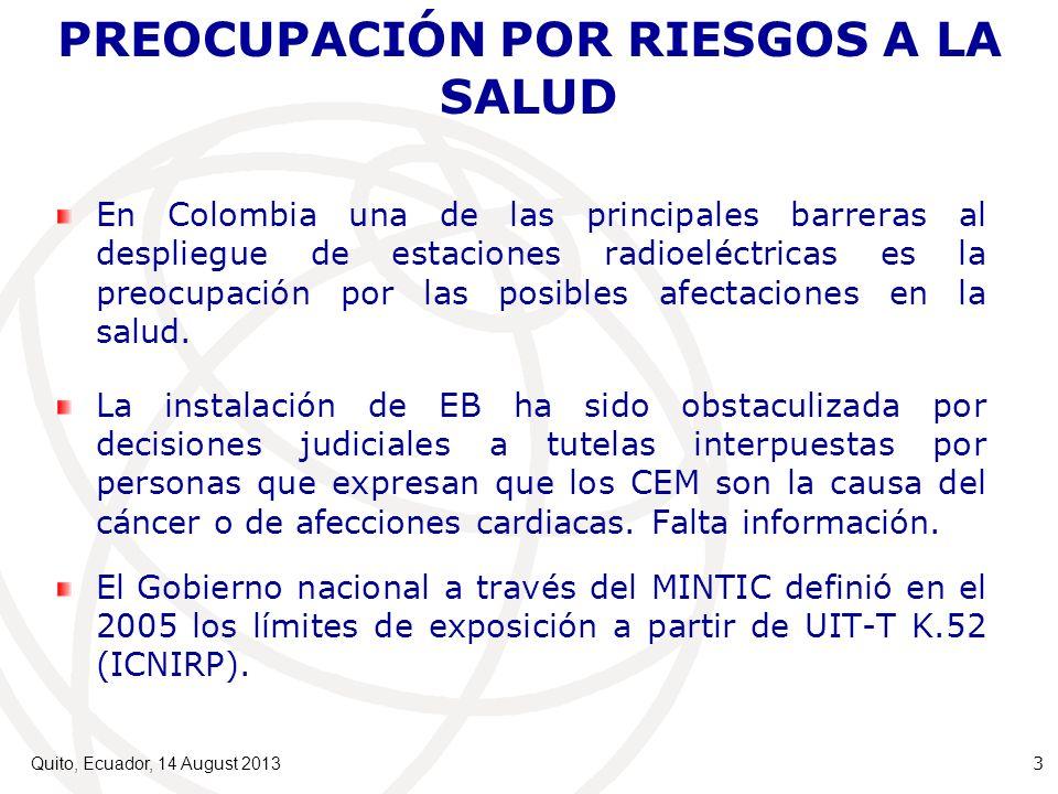 PREOCUPACIÓN POR RIESGOS A LA SALUD En Colombia una de las principales barreras al despliegue de estaciones radioeléctricas es la preocupación por las posibles afectaciones en la salud.