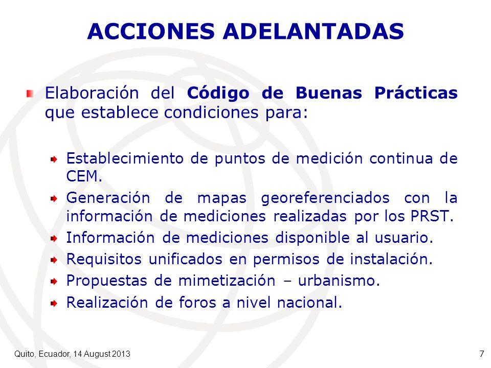 ACCIONES ADELANTADAS Elaboración del Código de Buenas Prácticas que establece condiciones para: Establecimiento de puntos de medición continua de CEM.
