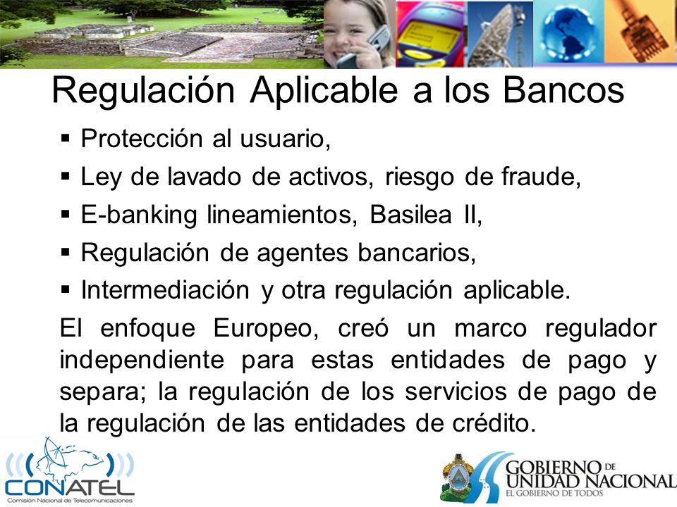 Regulación Aplicable a los Bancos Protección al usuario, Ley de lavado de activos, riesgo de fraude, E-banking lineamientos, Basilea II, Regulación de agentes bancarios, Intermediación y otra regulación aplicable.