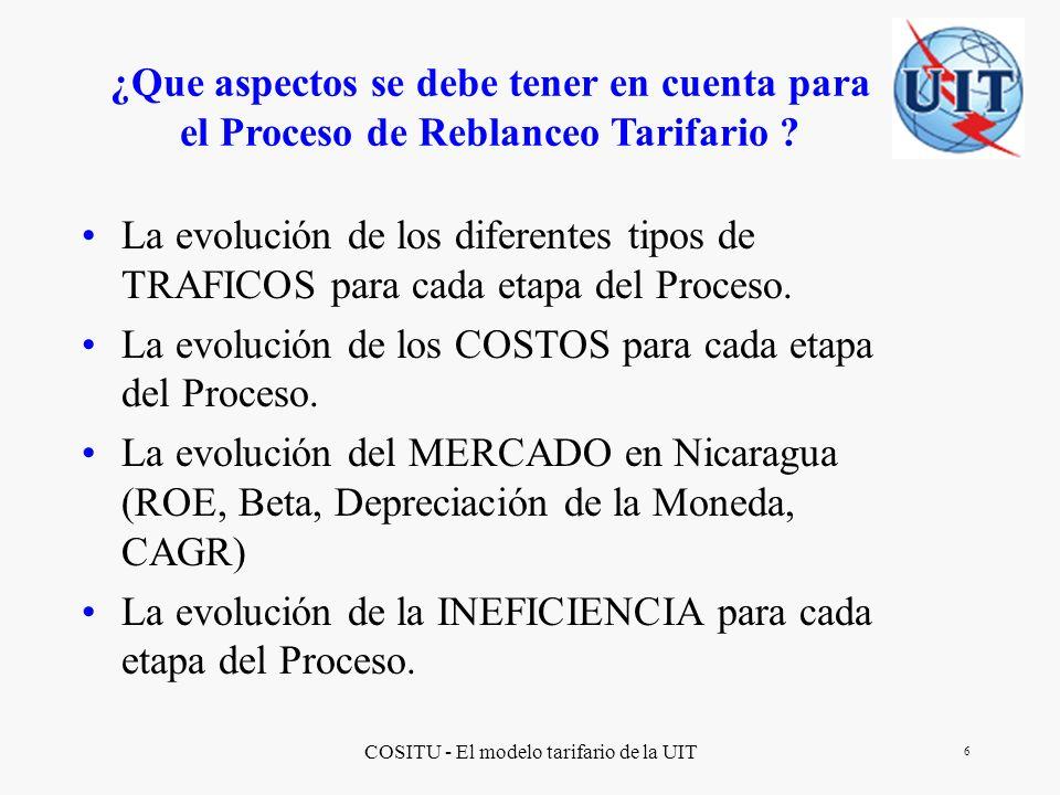 COSITU - El modelo tarifario de la UIT 17 Principales observaciones de la simulación del Proceso de Rebalanceo Tarifario usando COSITU COSITU es una herramienta útil para simular un Proceso de Rebalanceo Tarifario Debe ser planificado anticipadamente el proceso de ingresos de los datos.