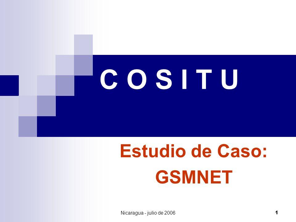 Nicaragua - julio de 20062 GSMNET (MSC) TELCOR (Cx) RAGTEL (Cx) El Mundo Costa Rica & Honduras LA RED DE GSMNET Trafico Urbano