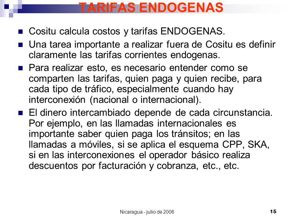 Nicaragua - julio de 200615 TARIFAS ENDOGENAS Cositu calcula costos y tarifas ENDOGENAS. Una tarea importante a realizar fuera de Cositu es definir cl