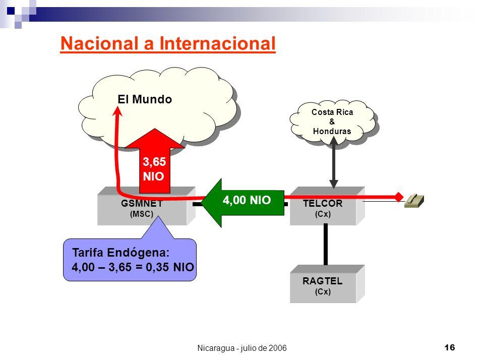 Nicaragua - julio de 200616 Nacional a Internacional GSMNET (MSC) TELCOR (Cx) RAGTEL (Cx) El Mundo Costa Rica & Honduras Tarifa Endógena: 4,00 – 3,65