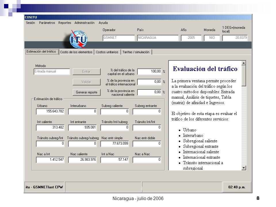 Nicaragua - julio de 200619 GSMNET (MSC) TELCOR (Cx) RAGTEL (Cx) El Mundo Costa Rica & Honduras Nacional Entrante Transito Simple 0,23 NIO
