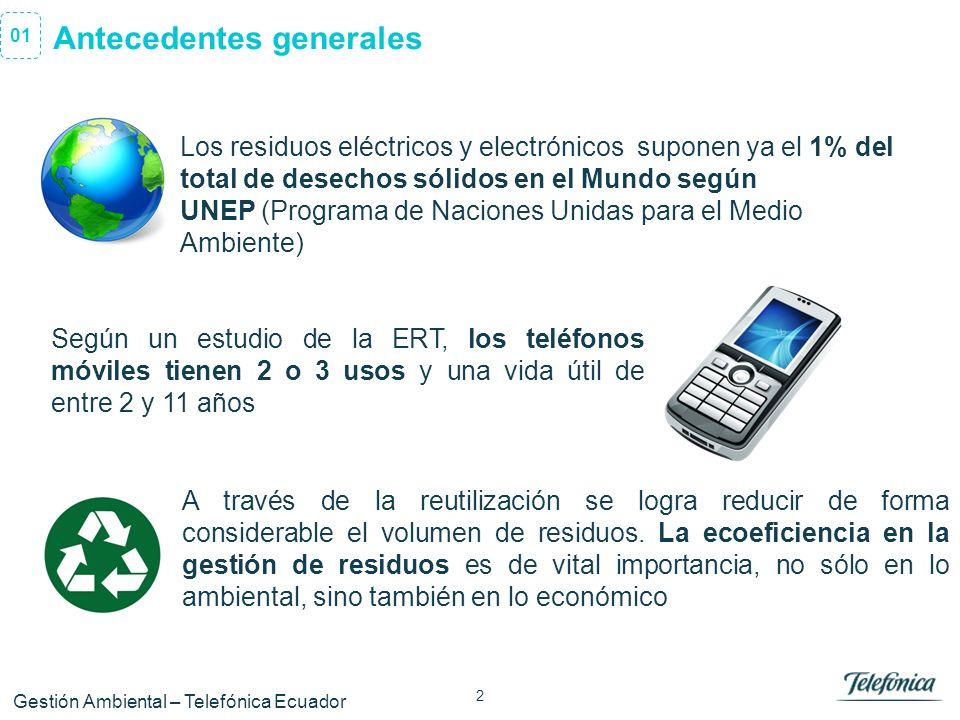 2 Área Razón Social Antecedentes generales 01 Gestión Ambiental – Telefónica Ecuador Los residuos eléctricos y electrónicos suponen ya el 1% del total