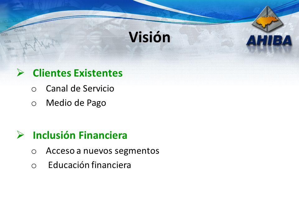 Visión Clientes Existentes o Canal de Servicio o Medio de Pago Inclusión Financiera o Acceso a nuevos segmentos o Educación financiera