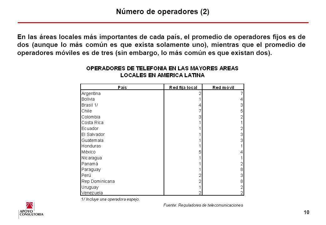 9 Número de operadores (1) El número de operadores en los mercados de telefonía fija (con excepción de aquellos mercados en los cuales existen operado