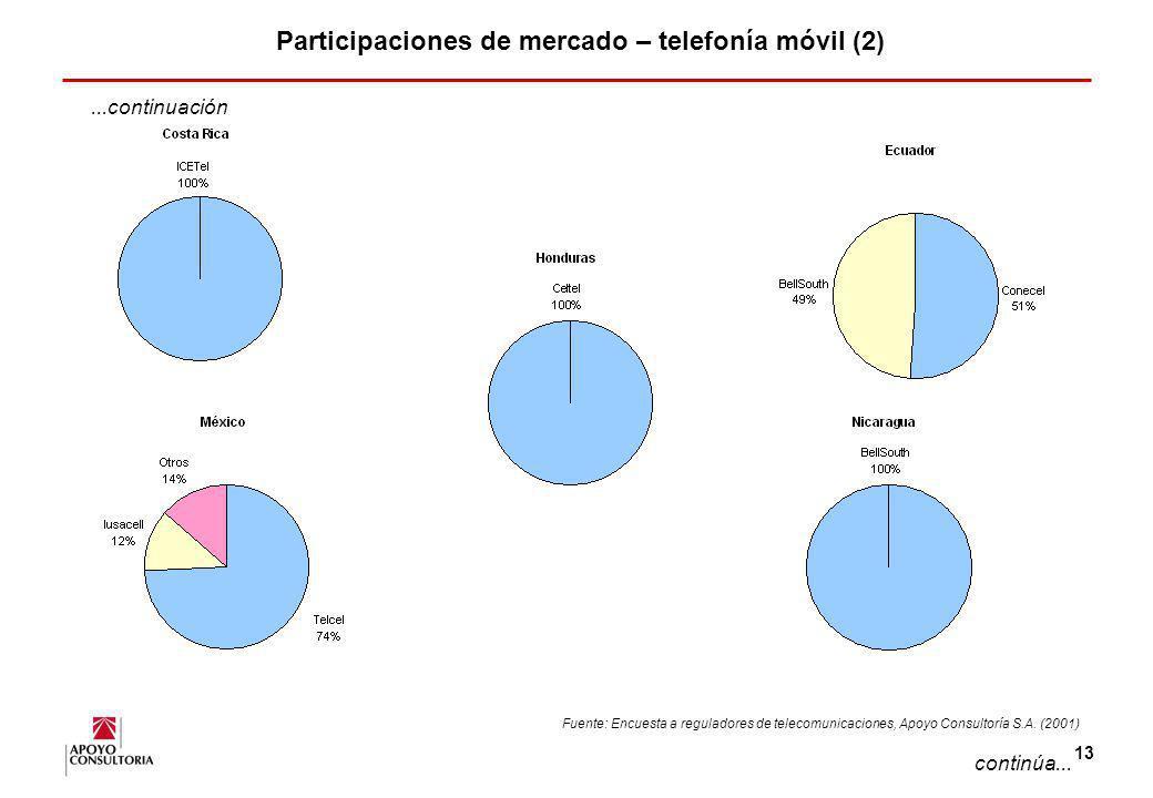 12 Participaciones de mercado – telefonía móvil (1) PARTICIPACION DE MERCADO POR EMPRESA – TELEFONIA MOVIL (2000) continúa... Fuente: Encuesta a regul