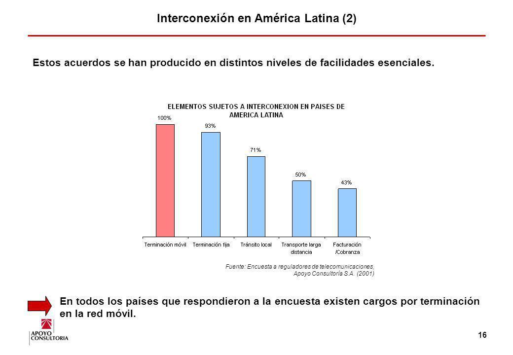 15 Interconexión en América Latina (1) Los procesos de apertura y de ingreso de nuevos operadores en los mercados latinoamericanos han motivado la nec