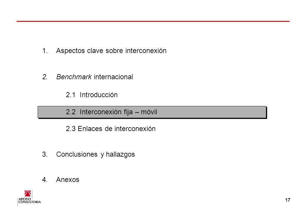 16 Interconexión en América Latina (2) Estos acuerdos se han producido en distintos niveles de facilidades esenciales. Fuente: Encuesta a reguladores