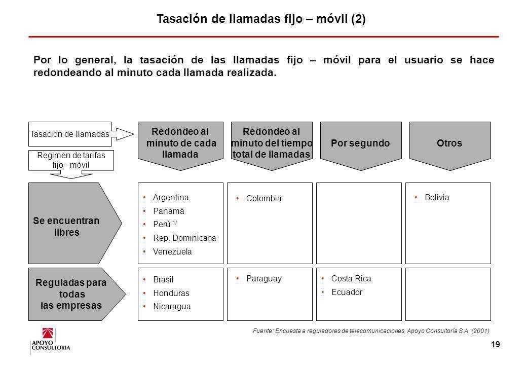 18 En América Latina, el sistema prevaleciente es CPP. En México, Uruguay y Perú, coexisten ambos sistemas. Tasación de llamadas fijo – móviles (1) Fu