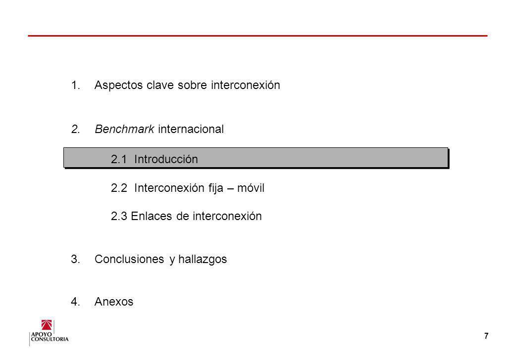 6 1.Aspectos clave sobre interconexión 2.Benchmark internacional 3.Conclusiones y hallazgos 4.Anexos
