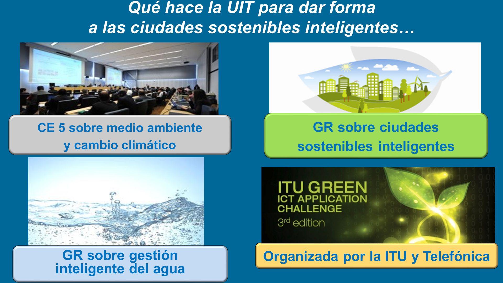 Qué hace la UIT para dar forma a las ciudades sostenibles inteligentes… CE 5 sobre medio ambiente y cambio climático GR sobre ciudades sostenibles int