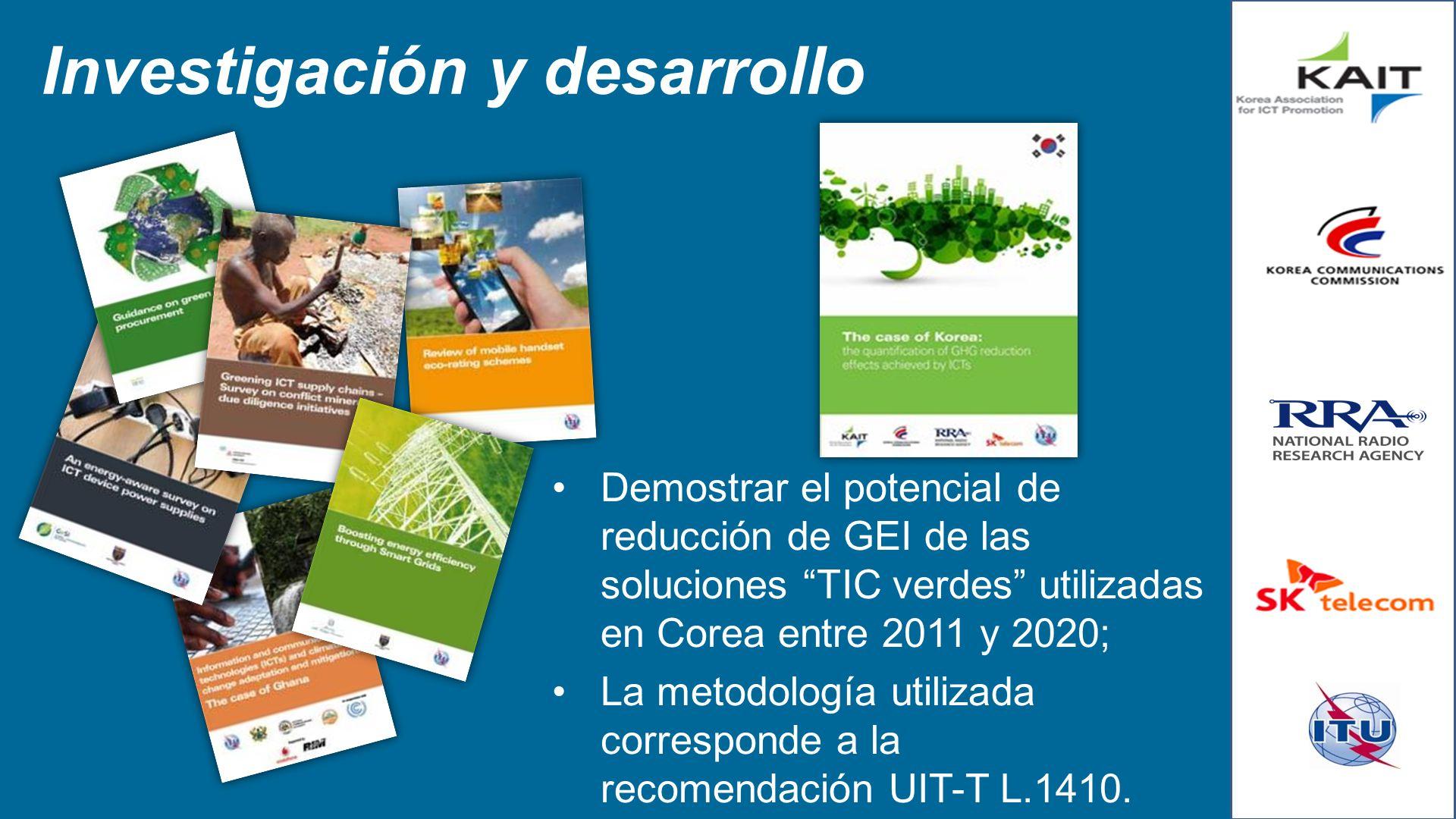 Investigación y desarrollo Demostrar el potencial de reducción de GEI de las soluciones TIC verdes utilizadas en Corea entre 2011 y 2020; La metodolog