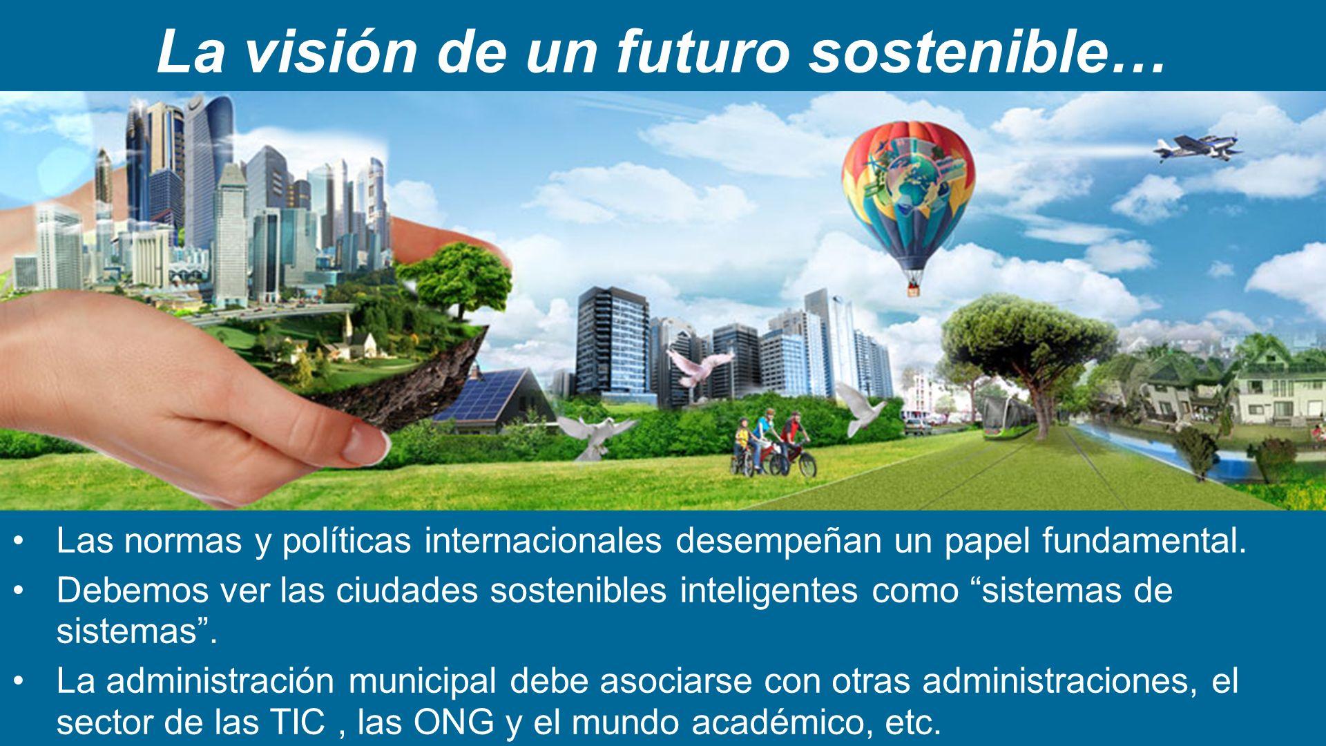 La visión de un futuro sostenible… Las normas y políticas internacionales desempeñan un papel fundamental. Debemos ver las ciudades sostenibles inteli