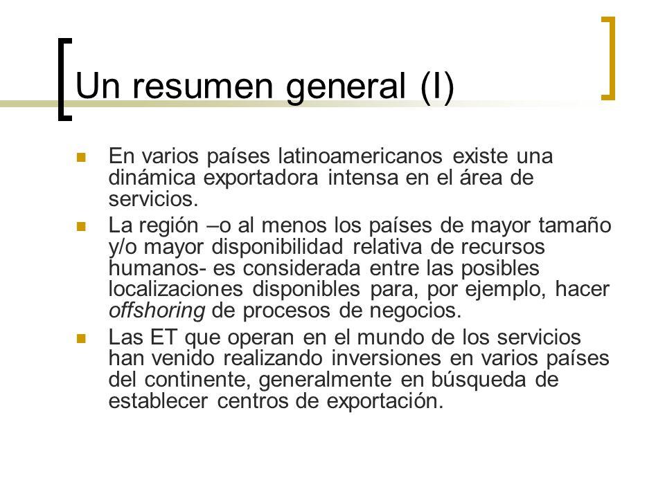 Un resumen general (I) En varios países latinoamericanos existe una dinámica exportadora intensa en el área de servicios. La región –o al menos los pa