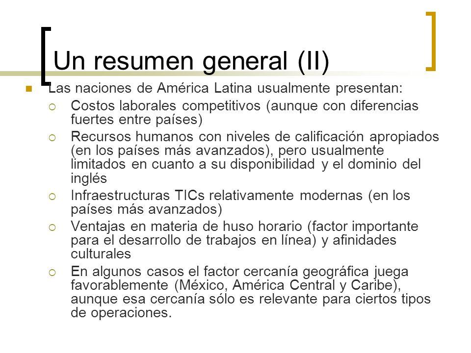 Un resumen general (II) Las naciones de América Latina usualmente presentan: Costos laborales competitivos (aunque con diferencias fuertes entre paíse