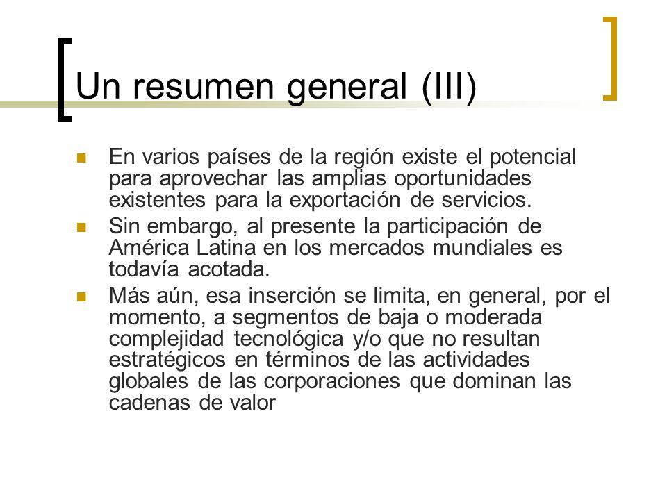 Un resumen general (III) En varios países de la región existe el potencial para aprovechar las amplias oportunidades existentes para la exportación de
