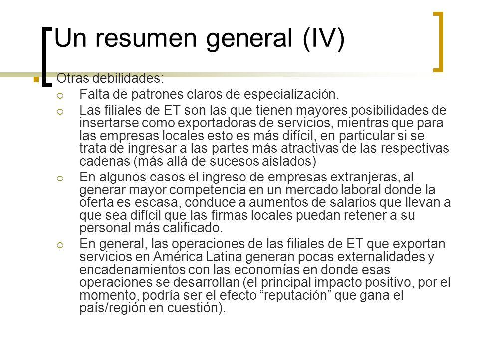Un resumen general (IV) Otras debilidades: Falta de patrones claros de especialización. Las filiales de ET son las que tienen mayores posibilidades de