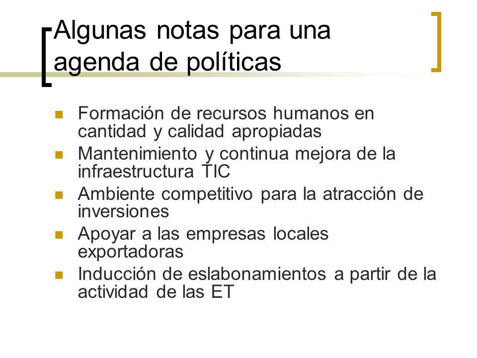 Algunas notas para una agenda de políticas Formación de recursos humanos en cantidad y calidad apropiadas Mantenimiento y continua mejora de la infrae