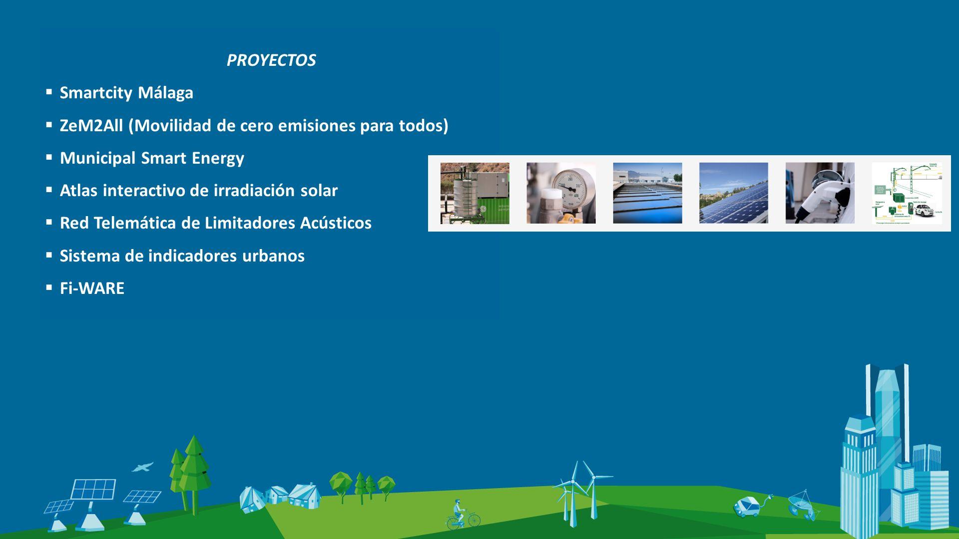 PROYECTOS Smartcity Málaga ZeM2All (Movilidad de cero emisiones para todos) Municipal Smart Energy Atlas interactivo de irradiación solar Red Telemática de Limitadores Acústicos Sistema de indicadores urbanos Fi-WARE