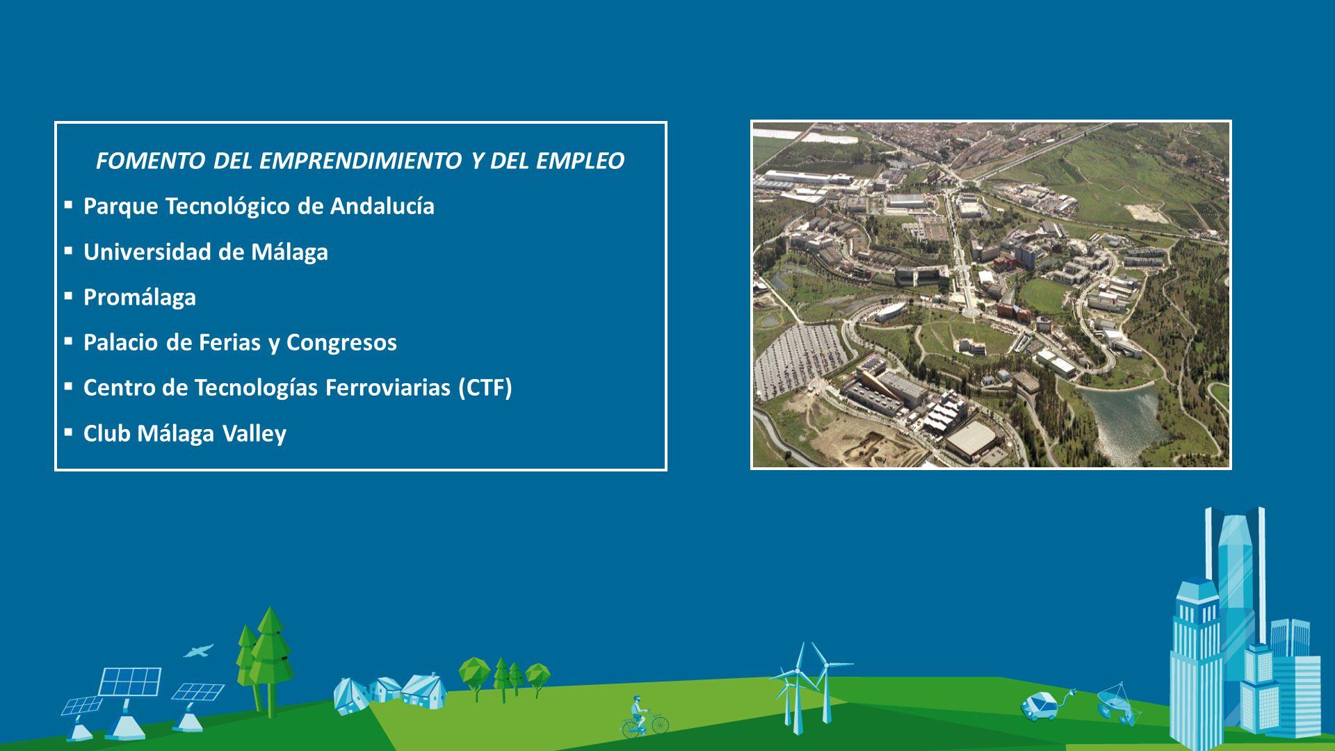 FOMENTO DEL EMPRENDIMIENTO Y DEL EMPLEO Parque Tecnológico de Andalucía Universidad de Málaga Promálaga Palacio de Ferias y Congresos Centro de Tecnologías Ferroviarias (CTF) Club Málaga Valley