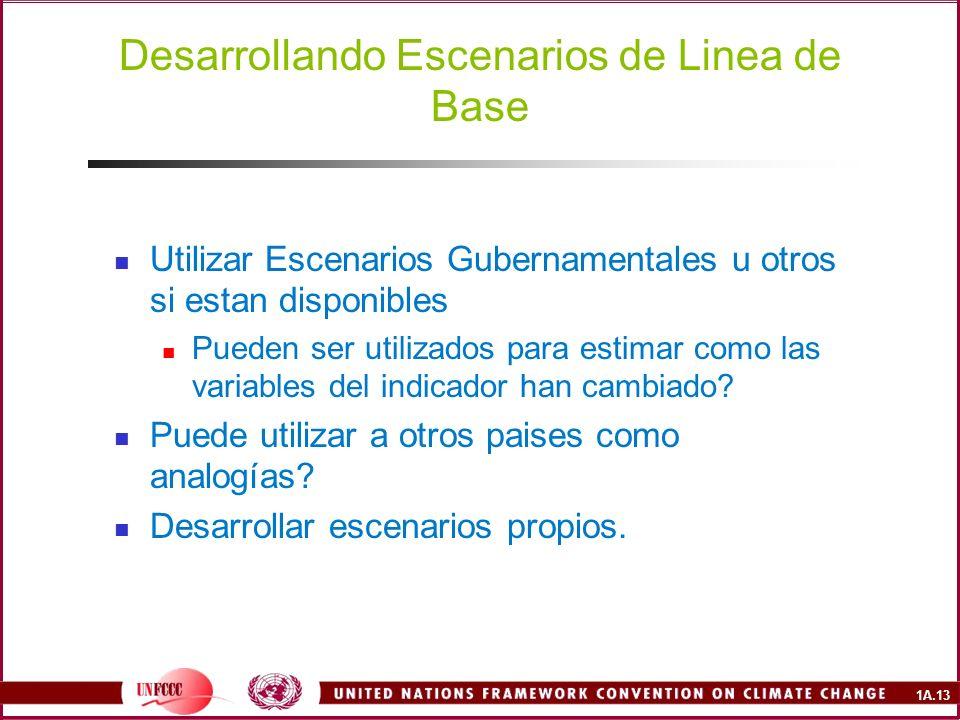 1A.13 Desarrollando Escenarios de Linea de Base Utilizar Escenarios Gubernamentales u otros si estan disponibles Pueden ser utilizados para estimar como las variables del indicador han cambiado.