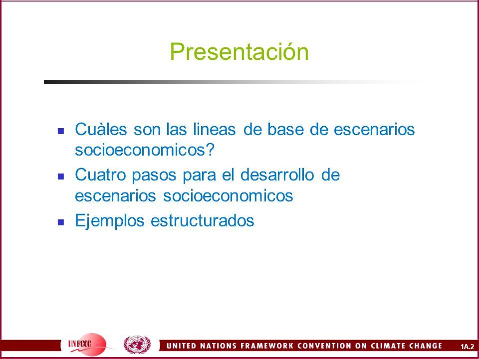 1A.2 Presentación Cuàles son las lineas de base de escenarios socioeconomicos.