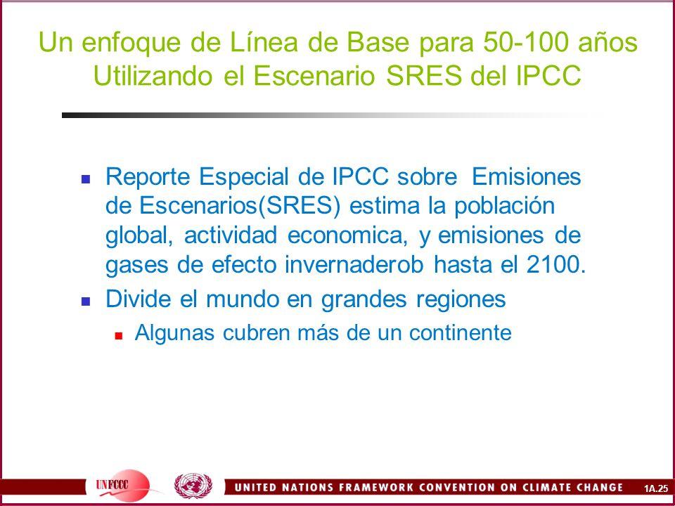 1A.25 Un enfoque de Línea de Base para 50-100 años Utilizando el Escenario SRES del IPCC Reporte Especial de IPCC sobre Emisiones de Escenarios(SRES) estima la población global, actividad economica, y emisiones de gases de efecto invernaderob hasta el 2100.