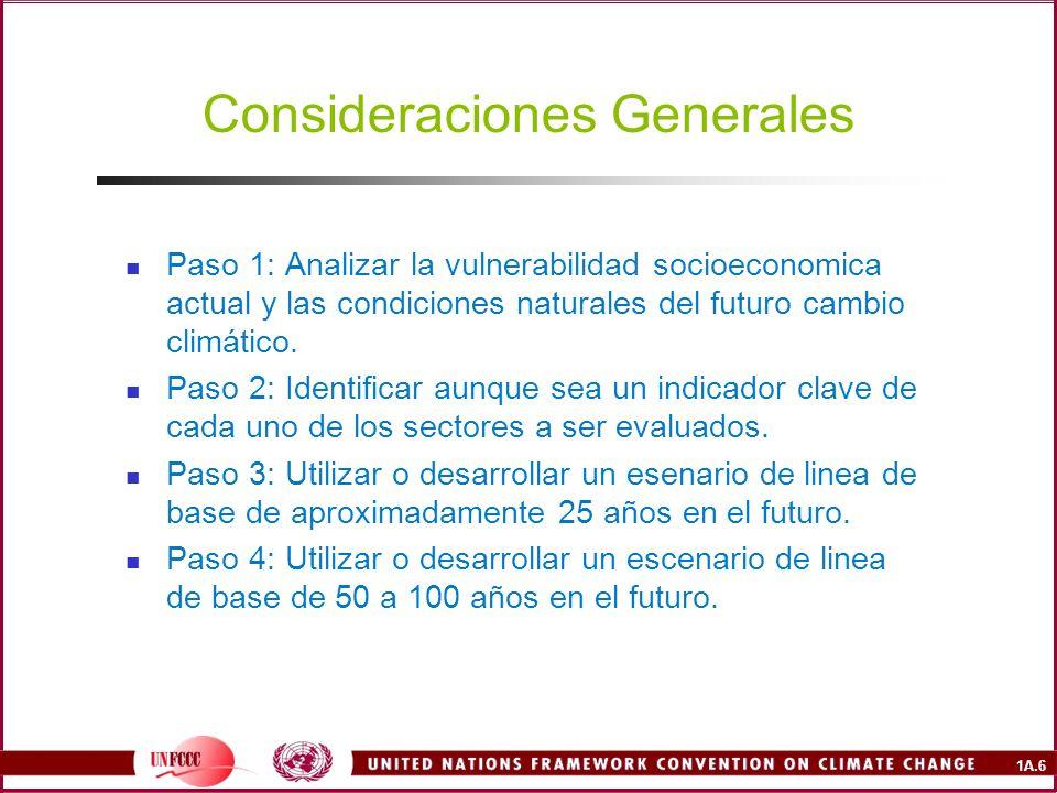 1A.6 Consideraciones Generales Paso 1: Analizar la vulnerabilidad socioeconomica actual y las condiciones naturales del futuro cambio climático.