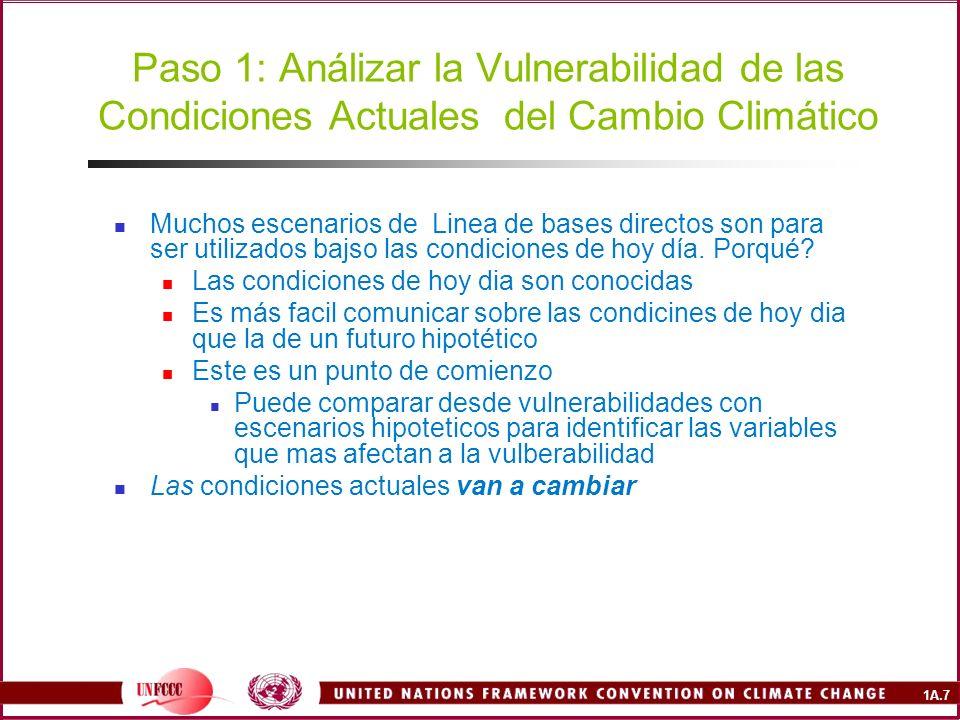1A.7 Paso 1: Análizar la Vulnerabilidad de las Condiciones Actuales del Cambio Climático Muchos escenarios de Linea de bases directos son para ser utilizados bajso las condiciones de hoy día.