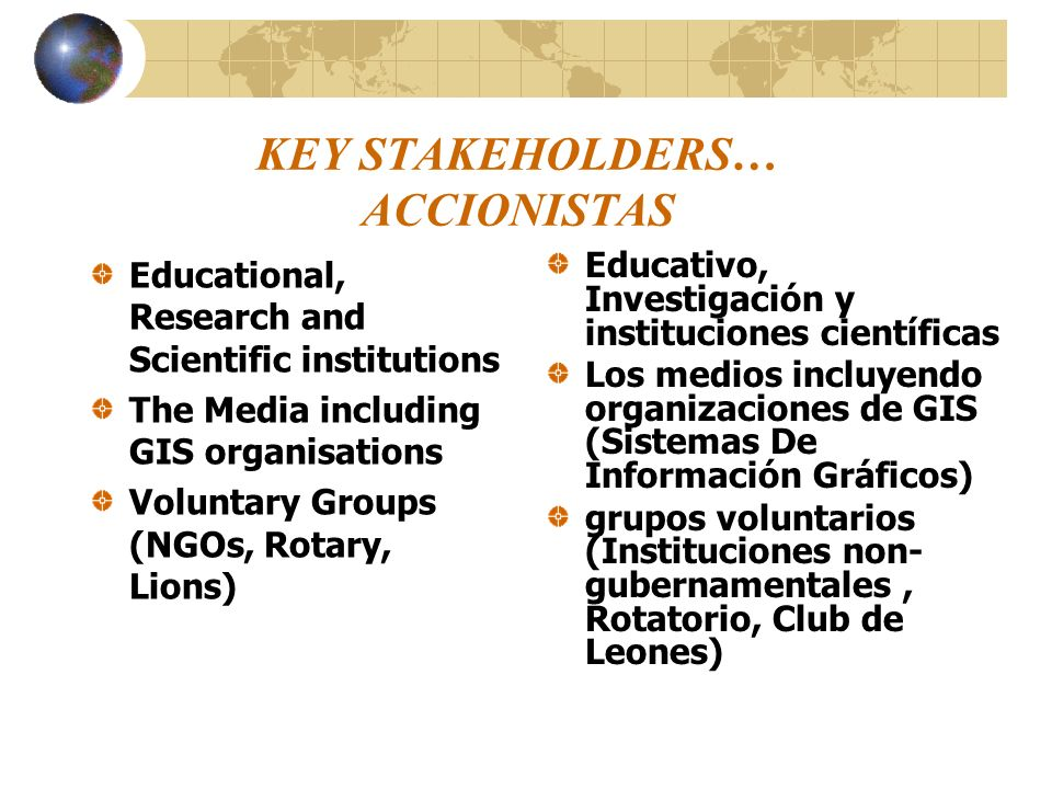 KEY STAKEHOLDERS… ACCIONISTAS Educational, Research and Scientific institutions The Media including GIS organisations Voluntary Groups (NGOs, Rotary,