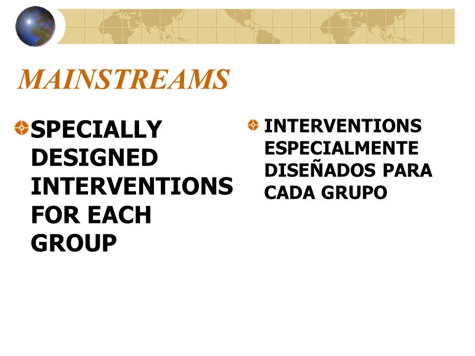 MAINSTREAMS SPECIALLY DESIGNED INTERVENTIONS FOR EACH GROUP INTERVENTIONS ESPECIALMENTE DISEÑADOS PARA CADA GRUPO