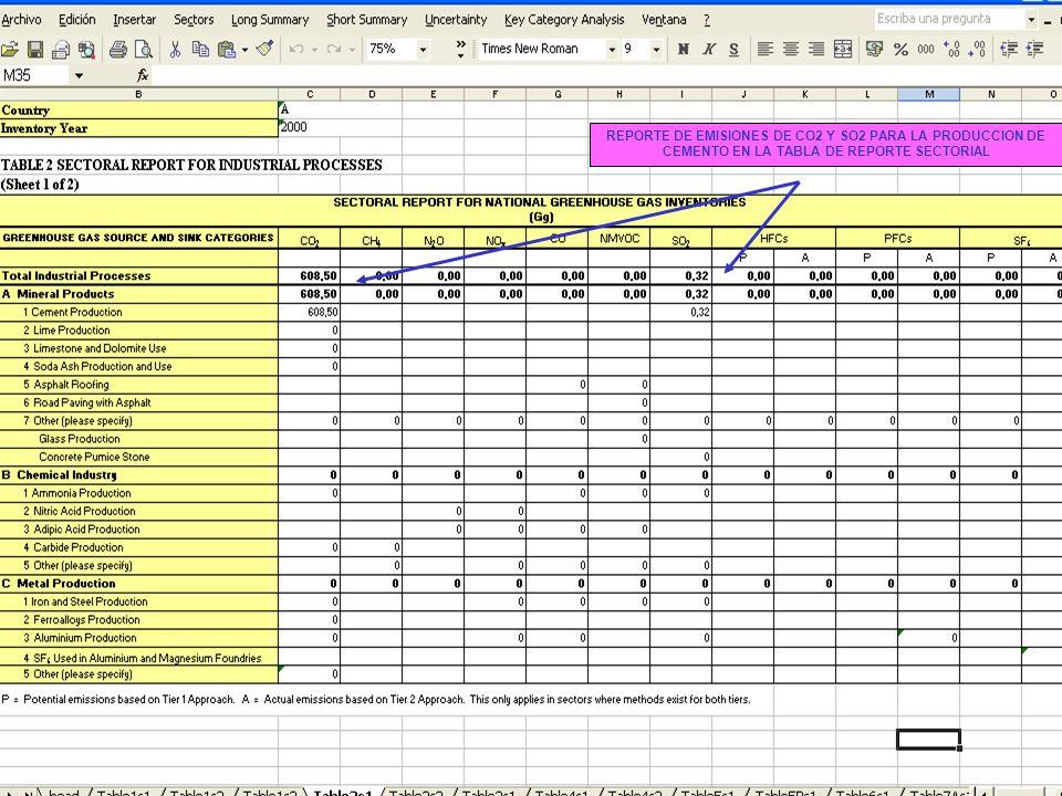 6C.13 13 REPORTE DE EMISIONES DE CO2 Y SO2 PARA LA PRODUCCION DE CEMENTO EN LA TABLA DE REPORTE SECTORIAL