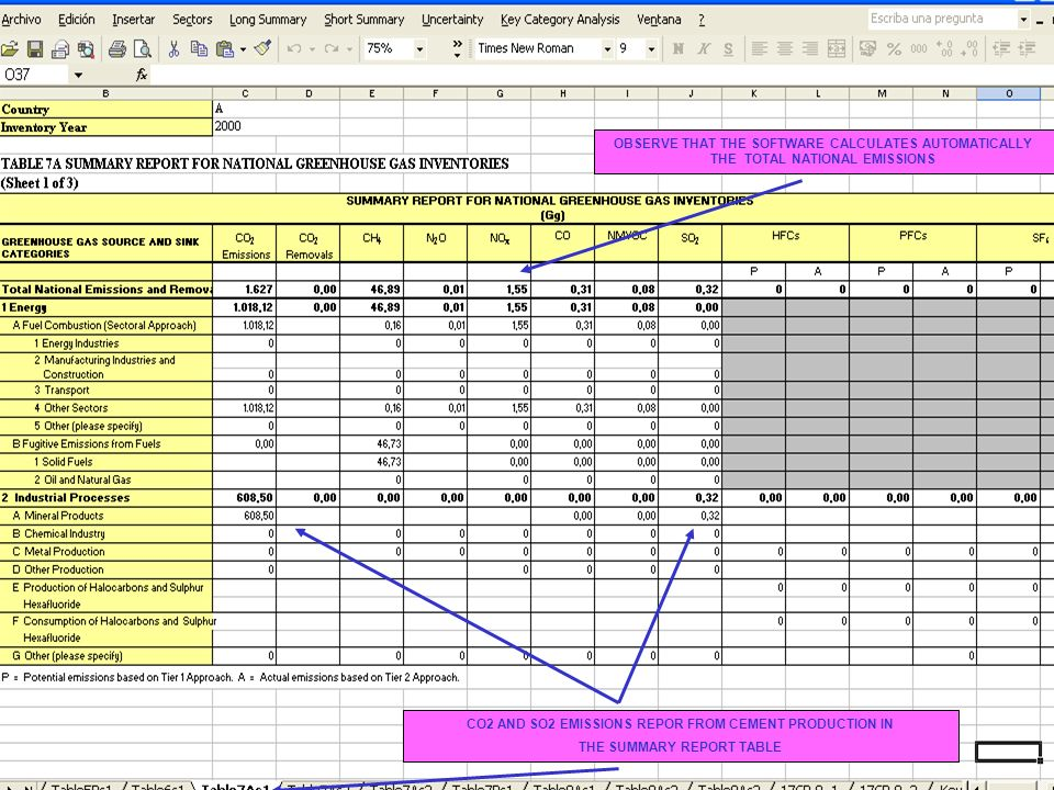 6C.14 14 CO2 AND SO2 EMISSIONS REPOR FROM CEMENT PRODUCTION IN THE SUMMARY REPORT TABLE OBSERVE THAT THE SOFTWARE CALCULATES AUTOMATICALLY THE TOTAL N
