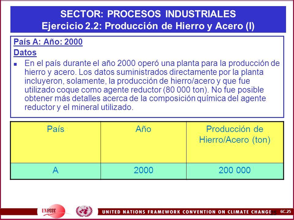 6C.25 25 SECTOR: PROCESOS INDUSTRIALES Ejercicio 2.2: Producción de Hierro y Acero (I) País A: Año: 2000 Datos En el país durante el año 2000 operó un