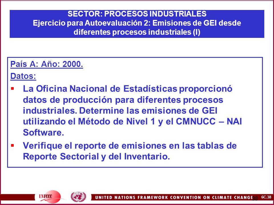 6C.38 38 SECTOR: PROCESOS INDUSTRIALES Ejercicio para Autoevaluación 2: Emisiones de GEI desde diferentes procesos industriales (I) País A: Año: 2000.
